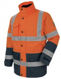 Ensemble parka de travail + pantalon orange fluo